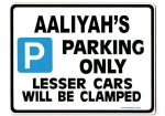 AALIYAH'S Personalised Parking Sign Gift | Unique Car Present for Her |  Size Large - Metal faced